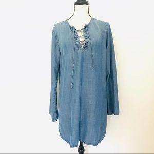 cloth and stone lace up light chambray tunic dress